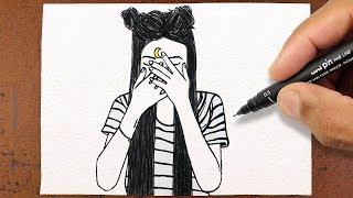HOW TO DRAW GIRL TUMBLR DESENHO