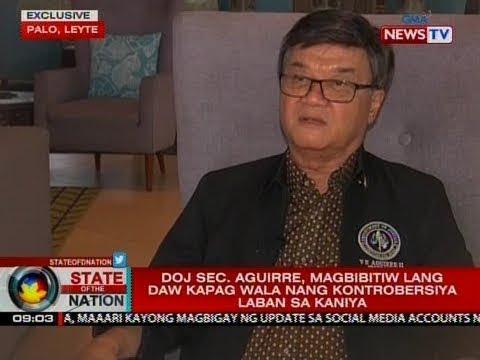 SONA: DOJ Sec. Aguirre, magbibitiw lang daw kapag wala nang kontrobersiya laban sa kaniya