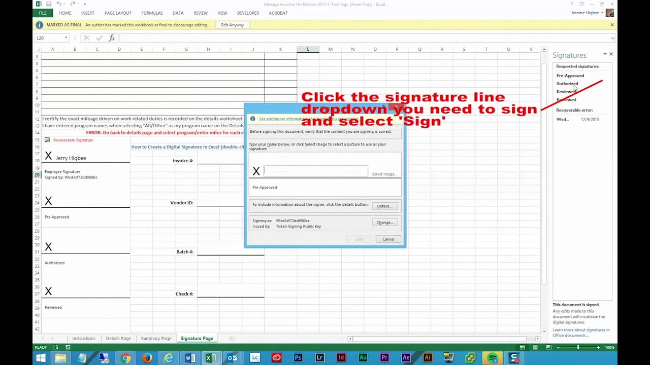 Technology Management Image: How To Add Multiple Signatures To An Excel 2013 Document
