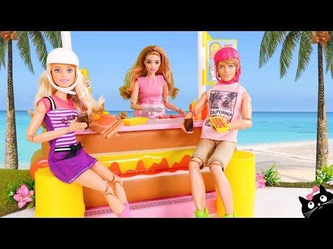 El Comen Hotdog Barbie Hermanas Parque Y Skate En Van Sus Al De bYfyIgv67m