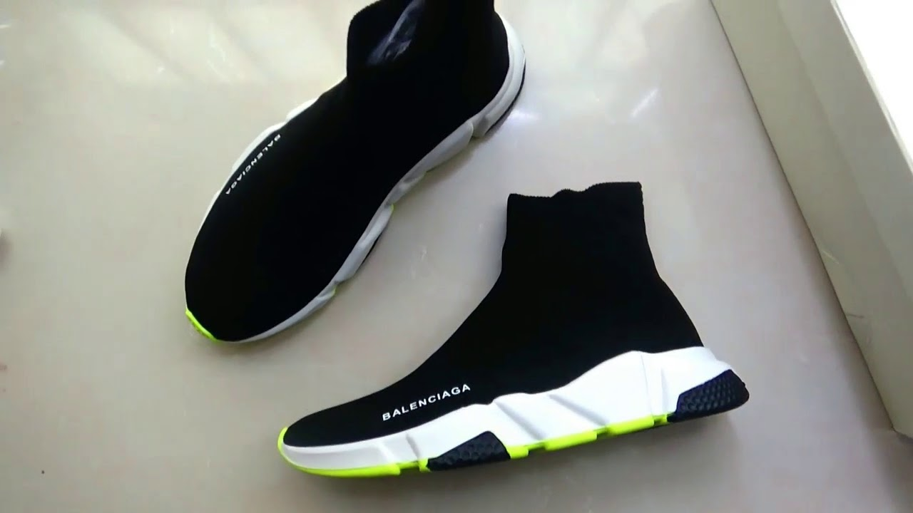 100% quality top design size 7 Balenciaga Speed Trainer Tricolor Sock Shoes with Green ...