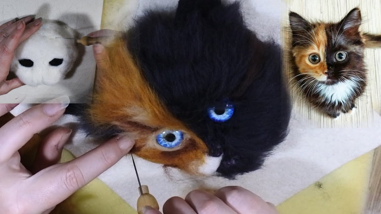 A 3d Needle Felted Cats Head Painting Youtube