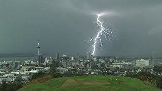 Incredible video - lightning strikes buildings in Auckland CBD