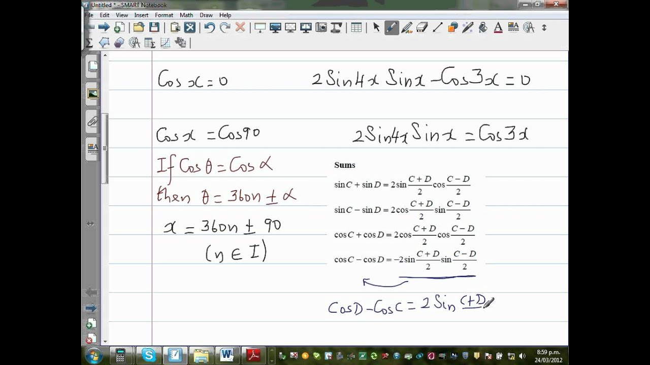 Solving trig equation Sin (4x) Sin (2x) = Cos (3x) Cos (x) - YouTube