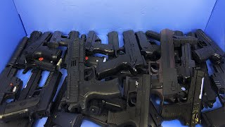 BLUE BOX OF BB GUNS - SILENCER - DESERT EAGLE - M11 - TOY GUNS