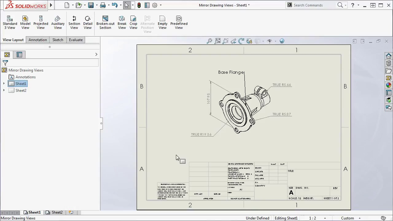 Mirror Drawing Views SOLIDWORKS 2017