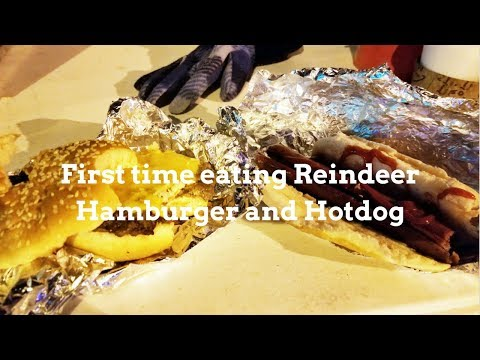 First time eating Reindeer Burger and Hotdog in Anchorage, Alaska, New Year's Eve 2018