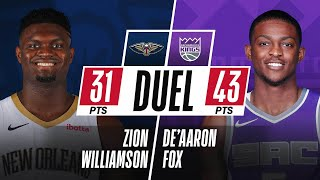 Zion Williamson (31 PTS \u0026 13-15 FGM) \u0026 De'Aaron Fox (43 PTS \u0026 13 AST) DUEL In Sacramento!