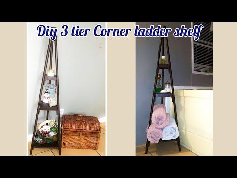 DIY dollar tree 3 tier corner shelf