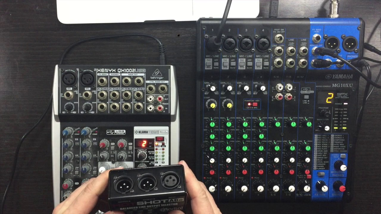 yamaha mg10xu vs behringer qx1002usb compact mixer desk comparison youtube. Black Bedroom Furniture Sets. Home Design Ideas