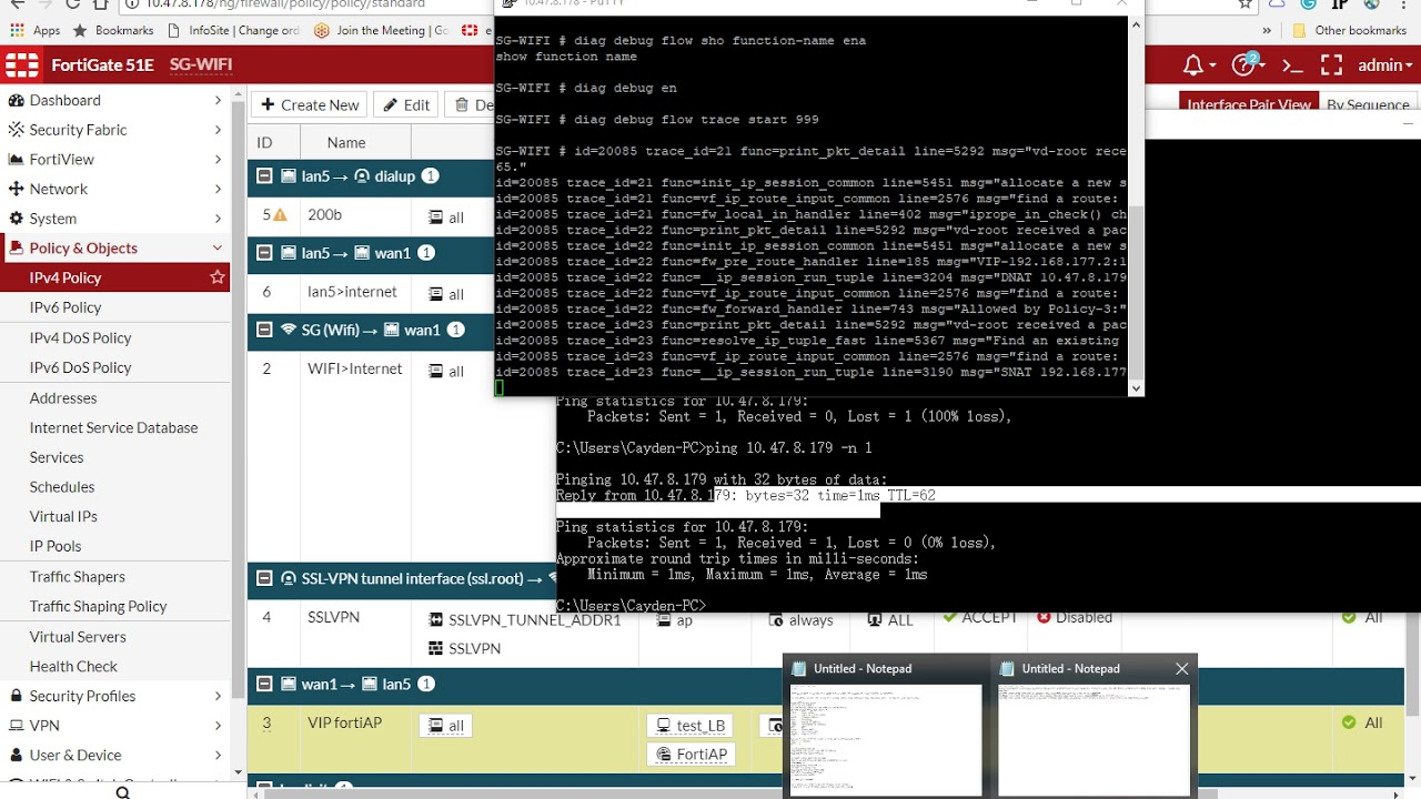 [Networking-FortiGate] How to run debug flow in Fortigate?