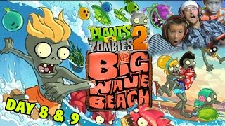 Lets Play PVZ 2: Big Wave Beach: IMPOSSIBLE DAY 9? w/ Day 8 (Dad & Mike Face Cam)