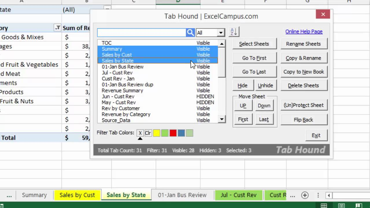 Tab Hound Guide Hide And Unhide Multiple Sheets Youtube
