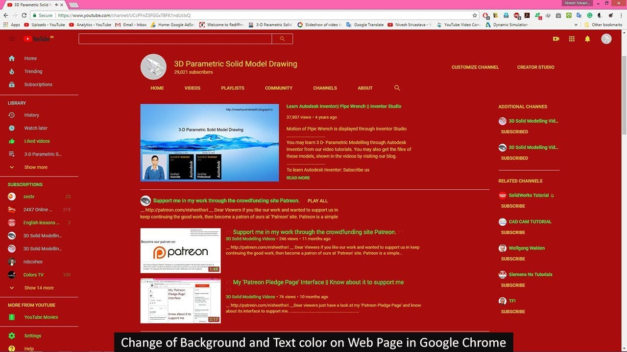 Change Of Background And Text Color On Web Page In Google Chrome