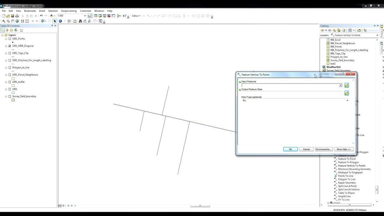 ArcGIS 10 2 - Feature Vertices to Points - Convert Line Feature  intersections to Points