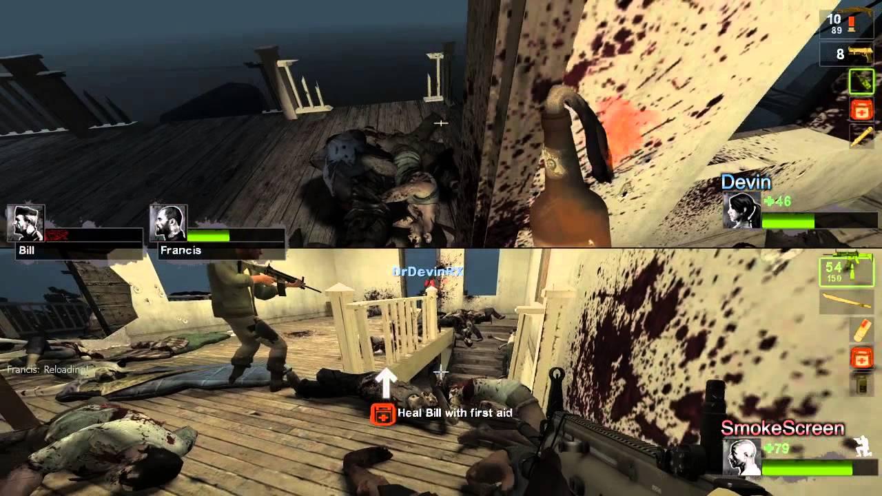 how to play left 4 dead split screen