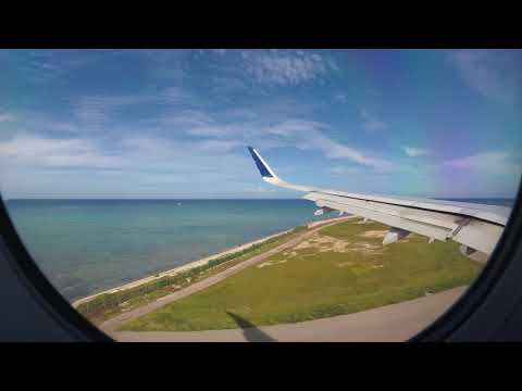 Jet Blue flight landing in Montego Bay, Jamaica 4K