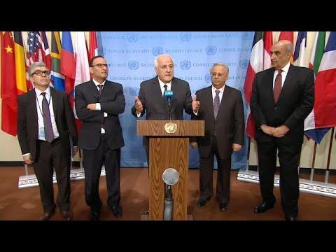 Riyad H. Mansour (Palestine), Mansour Al-Otaibi (Kuwait) Security Council Media Stakeout