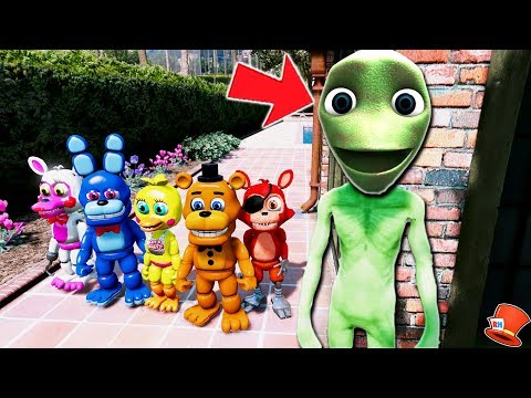 CAN FNAF WORLD ANIMATRONICS HIDE FROM DAME TU COSITA? (GTA 5 Mods For Kids FNAF RedHatter)