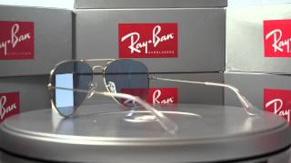แว่นตา Ray-Ban Aviator Gold Frame/ Blue lens, 58mm made in Italy.
