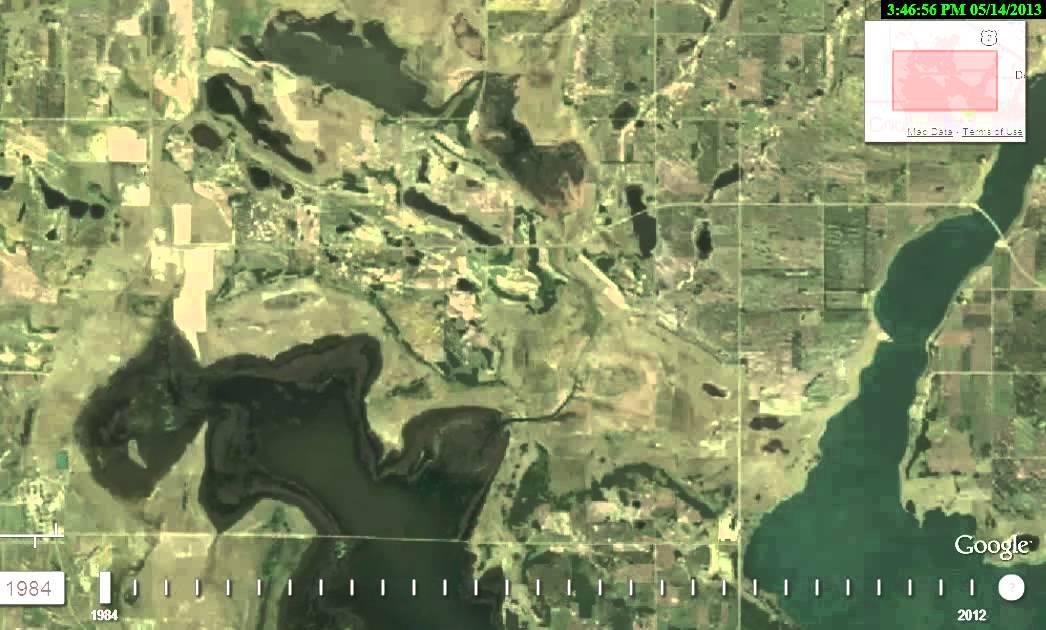 Devils Lake Nd >> Devils Lake, ND (Google TimeLapse Satellite Loop 1984-2012 ...