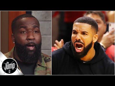 DJ Slab 1 - Kendrick Perkins reacts to Drake's sideline actions during Raptors vs Bucks