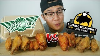 WINGSTOP VS BUFFALO WILD WINGS MUKBANG | LEMON PEPPER, MANGO HABENERO, ASIAN ZING  | JUSTIN EATS Video