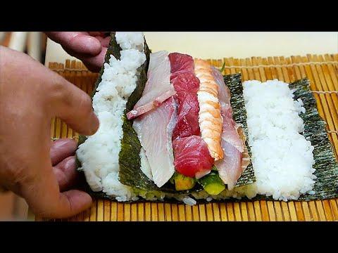 Japanese Street Food - FRIED ROCKFISH Rainbow Sushi Roll Okinawa Japan