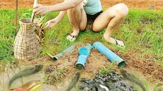 Primitive Beautiful Girl Cooking Frog Recipe On The River In Forest