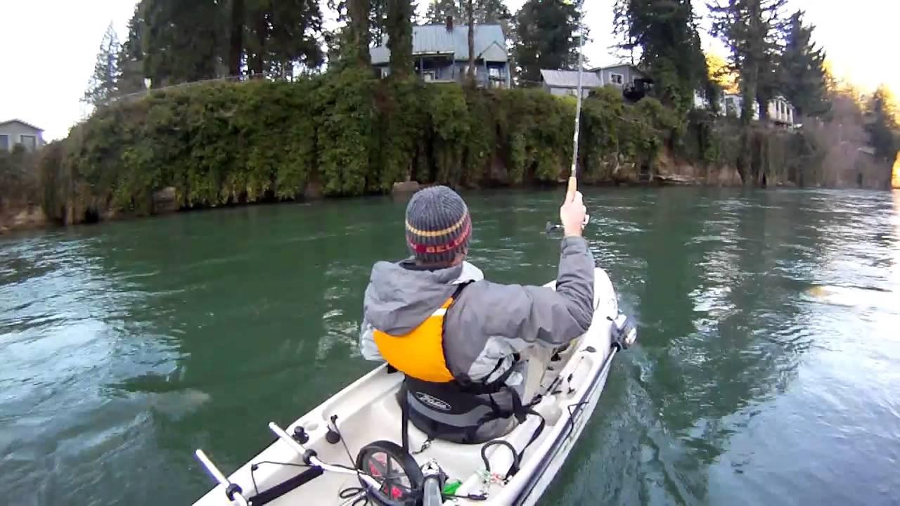 Kayak fishing for steelhead youtube for Clackamas river fishing