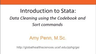 introduction to stata data cleaning using the codebook and sort commands