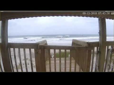 Hurricane Florence - North Topsail Beach NC  Live View for 9-13-18