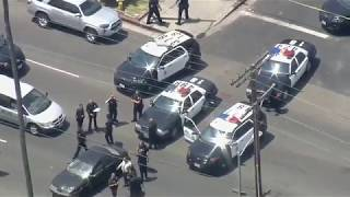 Slow speed pursuit in South LA; crowds gather after it ends
