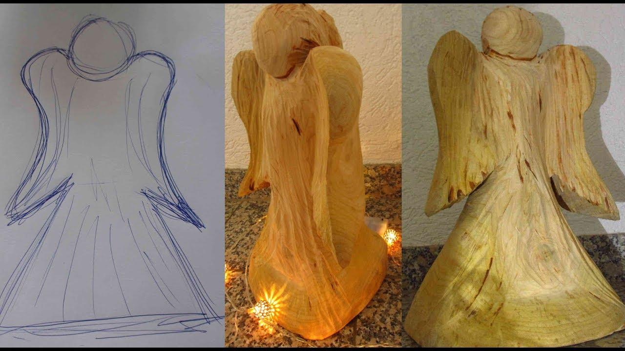 Larscarving weihnachts holzengel mit der motorsäge schnitzen