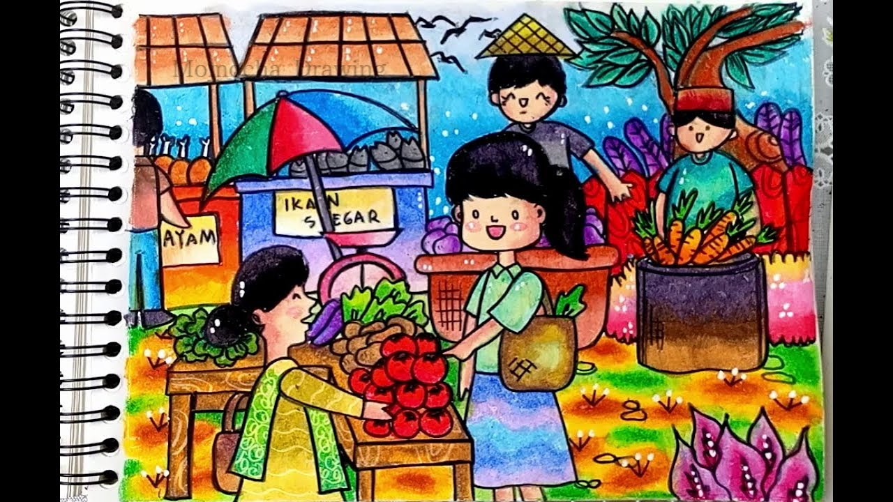 Drawing And Coloring Traditional Market With Oil Pastel