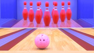 Binkie TV - Learn Colors With Funny Bowling Balls - Red Green Blue Pink - Color Video For Kids