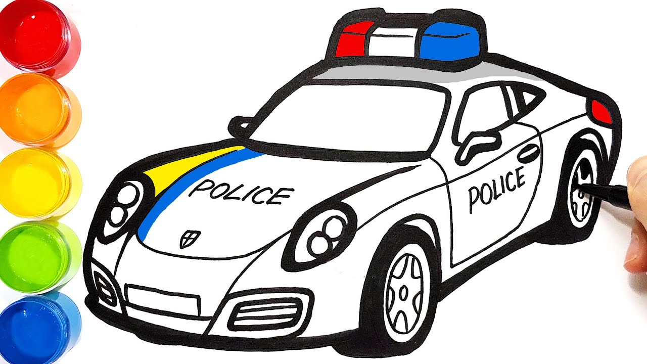 Draw a POLICE CAR . Learn drawing and coloring for Kids ...