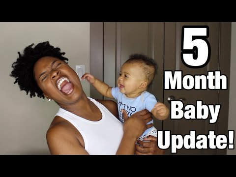 5 MONTH OLD BABY UPDATE! | Rolling Over, Scooting, Sleeping 9 hours a night!