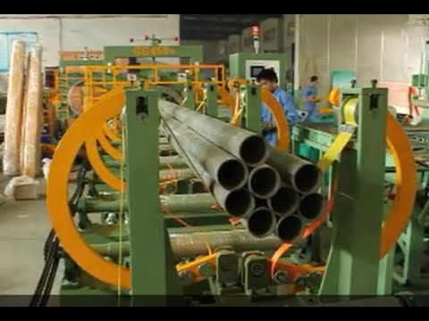 horizontal pipe bundle strapping and wrapping machine line