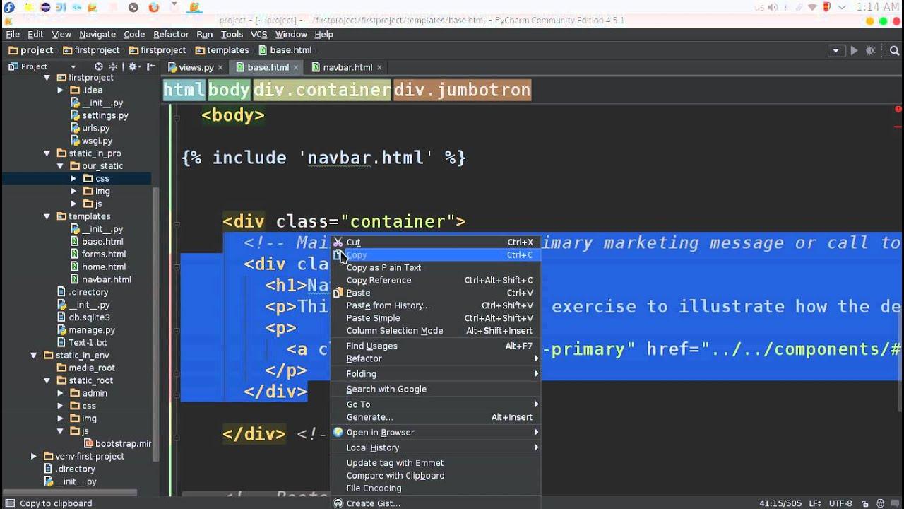 60 Python Web Django Bootstrap تنصيب واعداد بوتستراب - YouTube