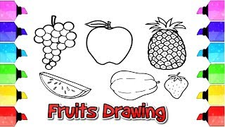 fruits drawing - easy step by step drawing tips for kids | Drawing Extra