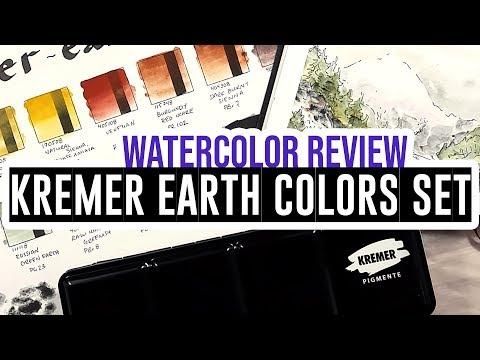 Review & Demo - Kremer ready-made watercolors - Earth Colors set 🎨🌿
