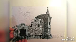 St Andrews Castle time lapse drawing