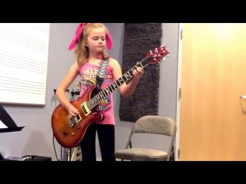 Sweet Child O'Mine Little Girl Plays GNR On Electric Guitar 10 Years Old