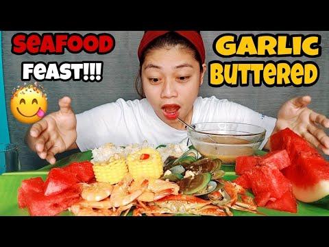 Download Seafood feast mukbang!!   garlic buttered shirmp+crab+mussels!!!   pinoy mukbang!!