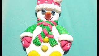 Cнеговик из соленого теста, лепим снеговика!!!