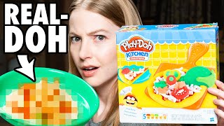 We Try To Make A Real Pizza Using A Play-Doh Pizza Maker