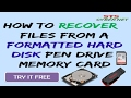 How to Recover Data/Files from a Formatted Hard Disk/Pen Drive/ Memory Card (Step By Step) in hindi