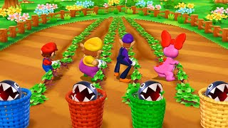 Mario Party 9 Garden Battle - Mario vs Wario vs Waluigi vs Birdo| Cartoons Mee