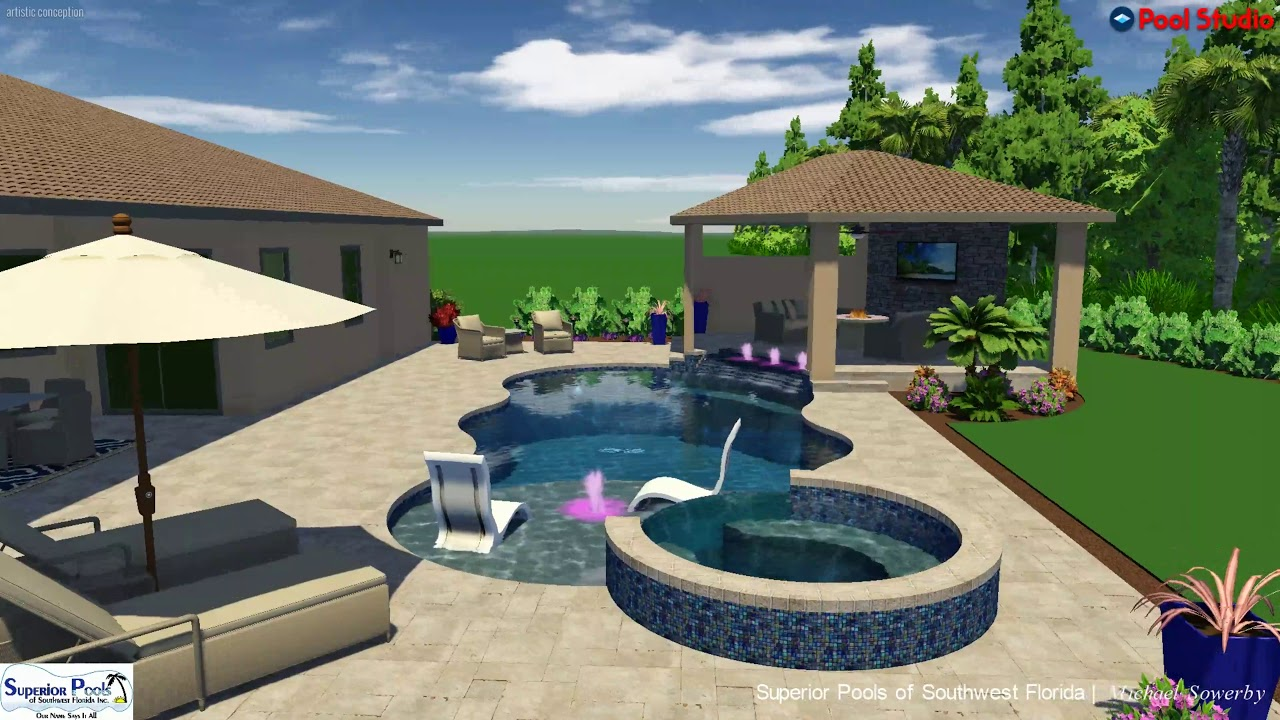 Superior Pools 3D Swimming Pool Design Ideas Zampa (Watch In 4K ...